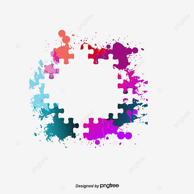 Rompecabezas Colorido Frontera, Vector PNG, Rompecabezas, Colorido ...