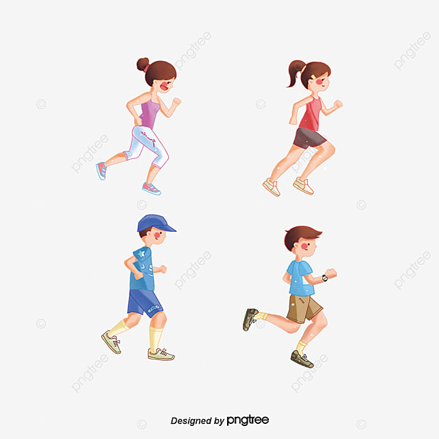 Running cartoon characters