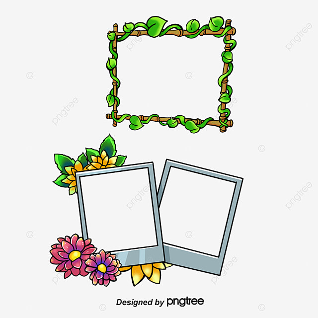 Flower Border, Flower, Cartoon, Graduation Photo Frame PNG and PSD ...