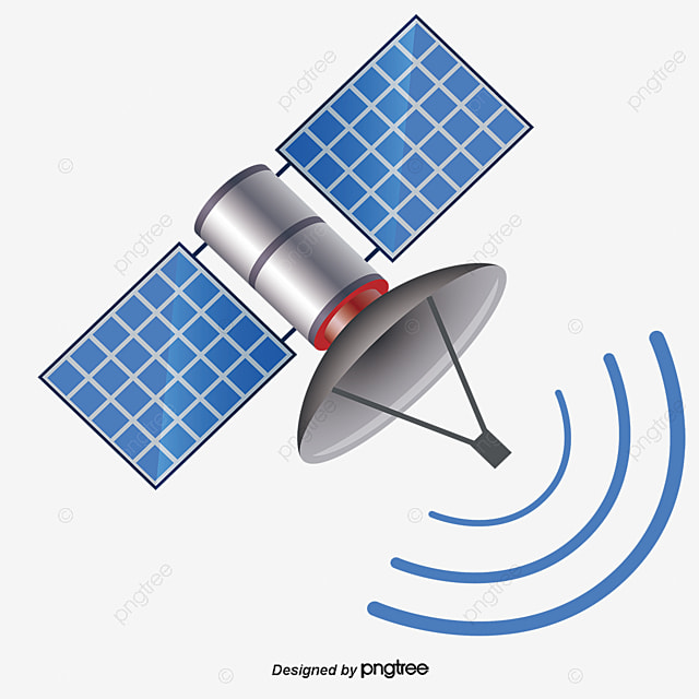 Blue Satellite Delayering Cartoon PNG And Vector