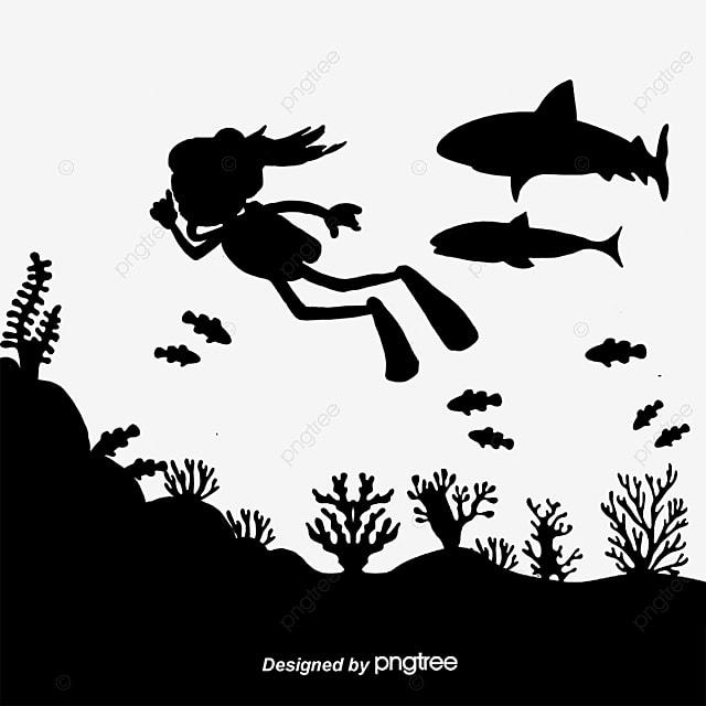 sous marin de silhouettes de vecteur plongeur graphique