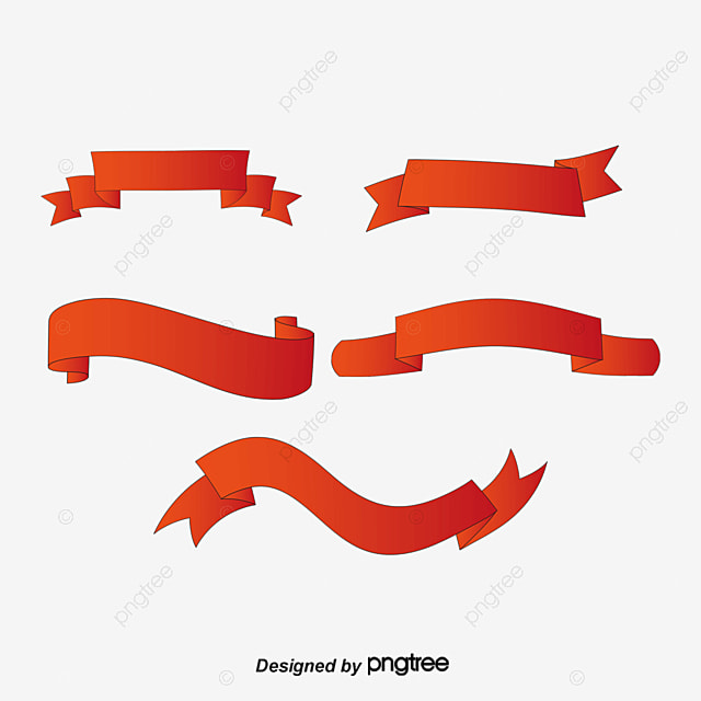 Red Ribbon Banner, Satin, Frame, Banner PNG And Vector For
