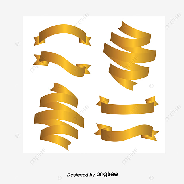 Golden Banner Vector Flag Ribbon Label Png And Vector
