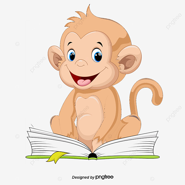 vector reading monkeys  vector  read a book  monkey png clipart of bookworm clip art of book tasting
