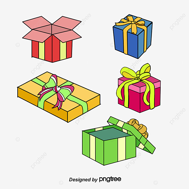 Green cartoon gift box vector