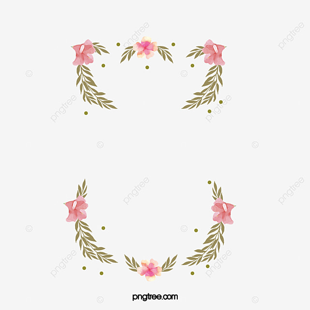 Pink Fresh Hand Painted Floral Border Design, Pink, Green