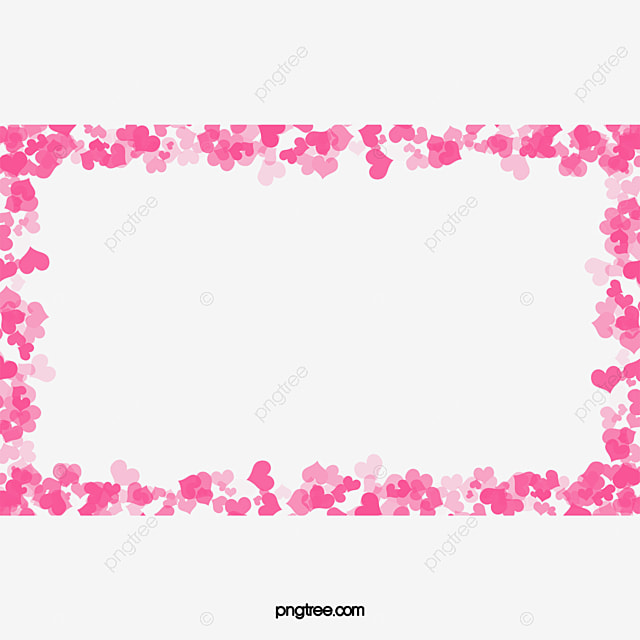 Flowers Border, Blurry, Heart Shaped, Pink PNG Transparent