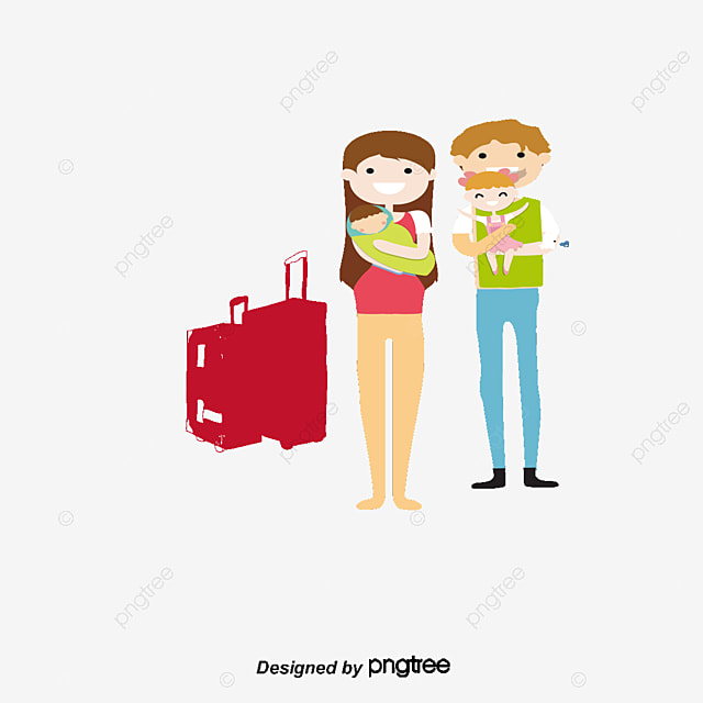 Family Travel Character PNG And Vector