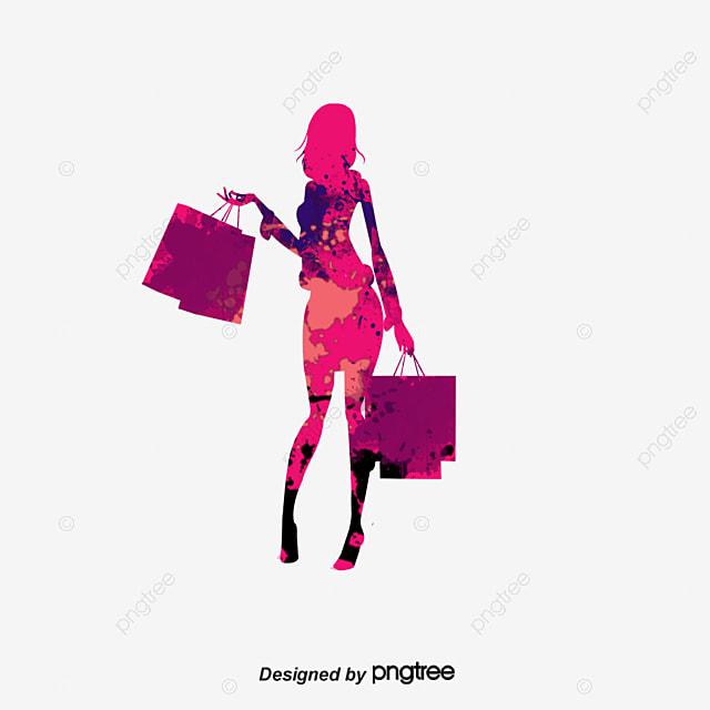 dibujo de dibujos animados chica de compras de moda