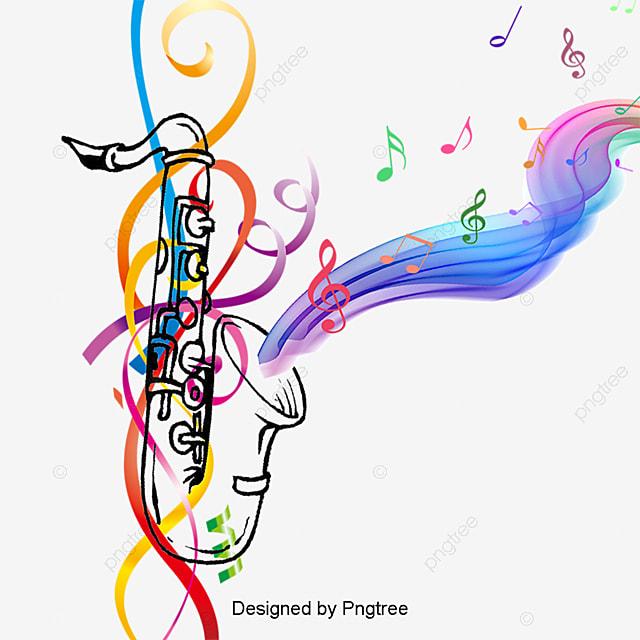 saxof243n con notas musicales de color de fondo vector