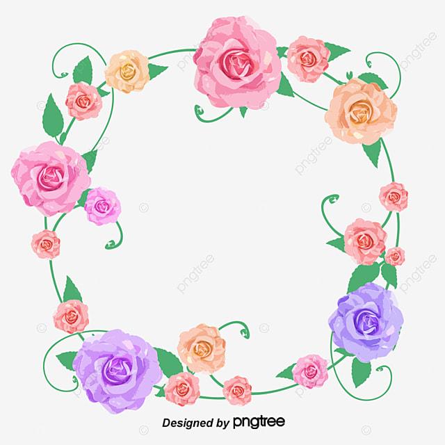 Color Flower Garland Color Flores Corona Archivo Png Y Psd Para
