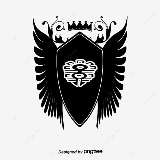 les ailes de la couronne de bouclier noir vecteur  u00e0 la