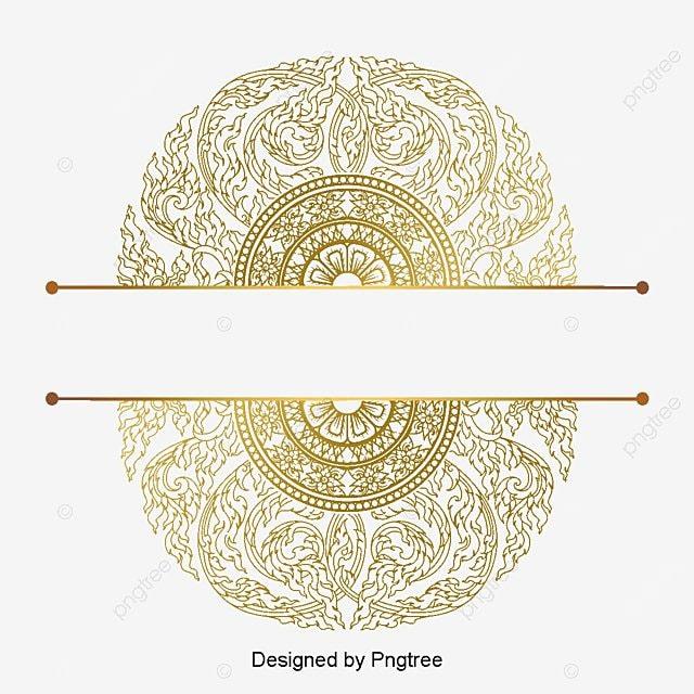 European Border Pattern Golden Luxury Atmosphere Golden