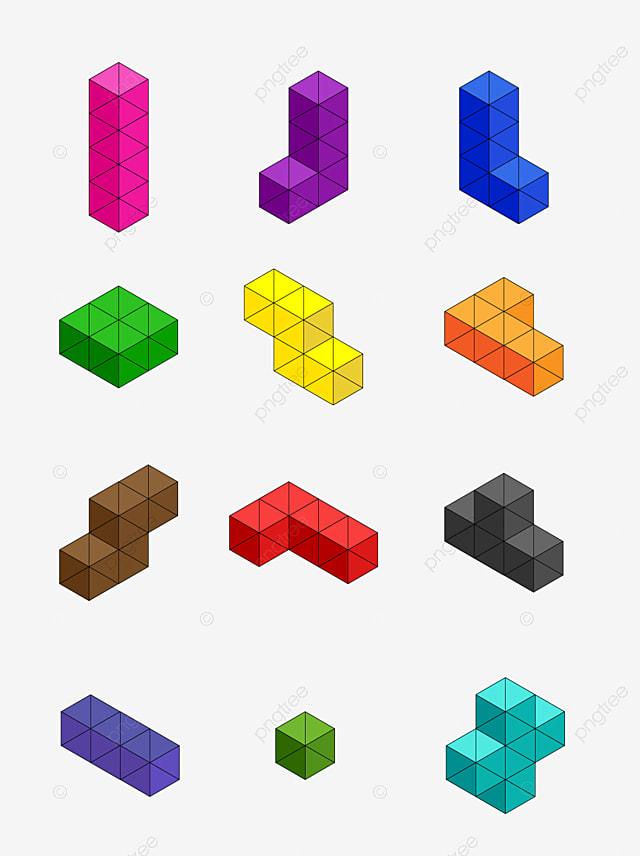 3d Tetris Vector Illustration, Art, Block, Clip PNG