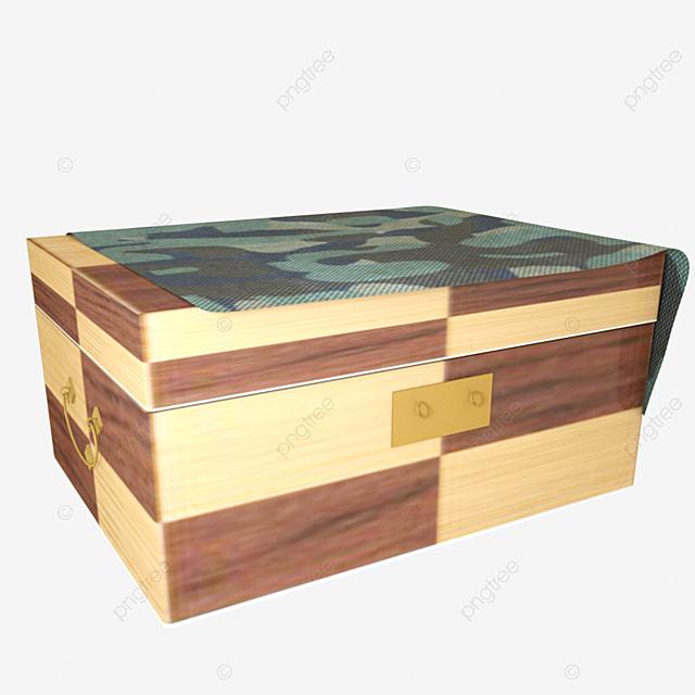 C4D HD Camouflage Cloth Wood Box E-commerce Decorative