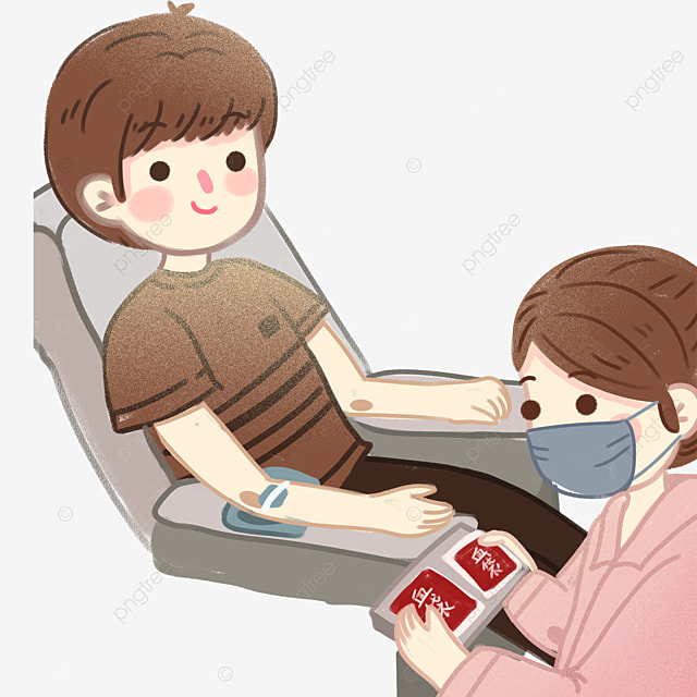 Cartoon Cute Blood Donation Teenager And Nurse, Cartoon, Cute