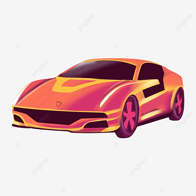 Cartoon Hand Drawn Red Sports Car Png Element Red Sports Car