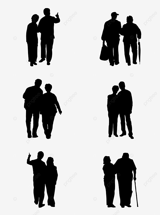 Commercial Vector Character, Old Couple, Silhouette, Commercial