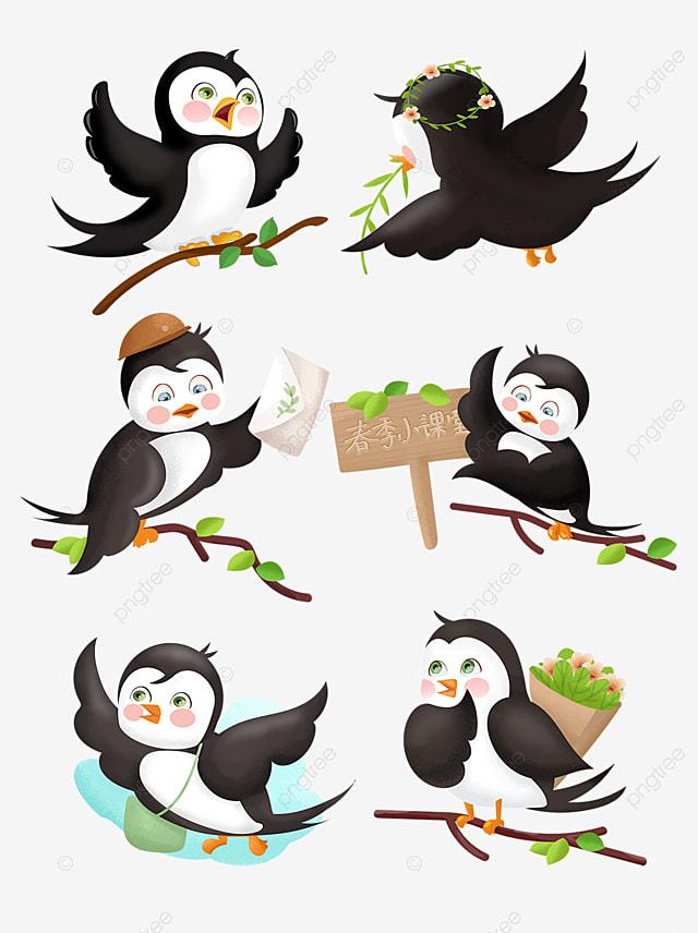 Spring adorable. Cute cartoon little swallow