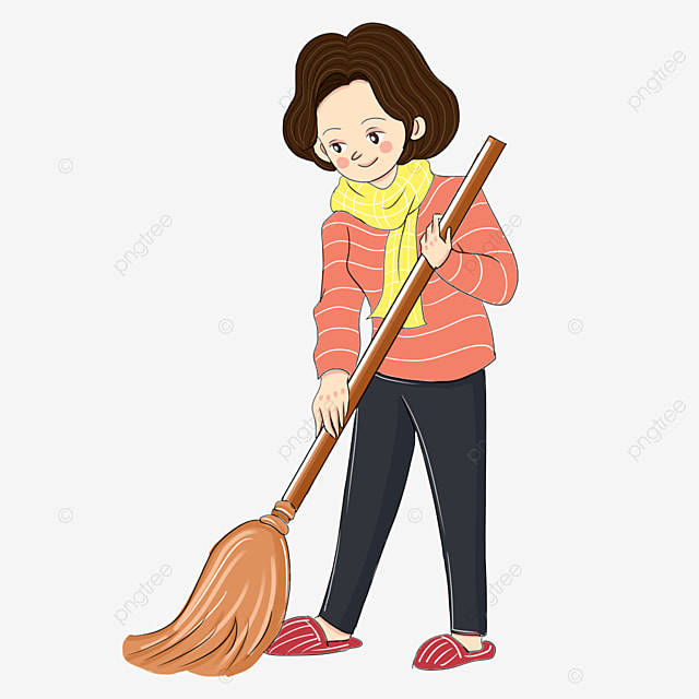 Hand Drawn Cartoon Sweeping Girl Png Element Illustration