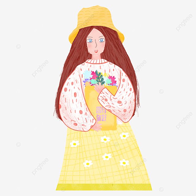 Watercolor Doodle Character Pattern, Girl, Character, Hand