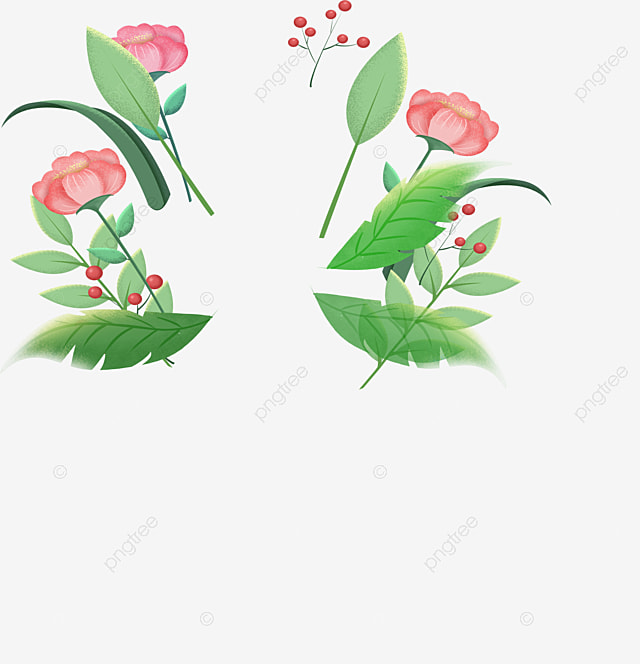 Blooming Pink Flowers Decorative Elements Decorative Element Hand
