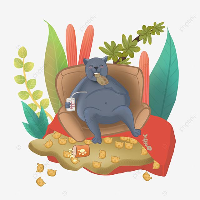kucing obesitas komersial memakan camilan di sofa kucing gemuk hewan sofa png transparan gambar clipart dan file psd untuk unduh gratis kucing obesitas komersial memakan
