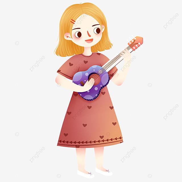 Fille Jouer De La Guitare Jaune Cheveux Couleur Jouer De La Guitare Jouant Fichier Png Et Psd Pour Le Telechargement Libre