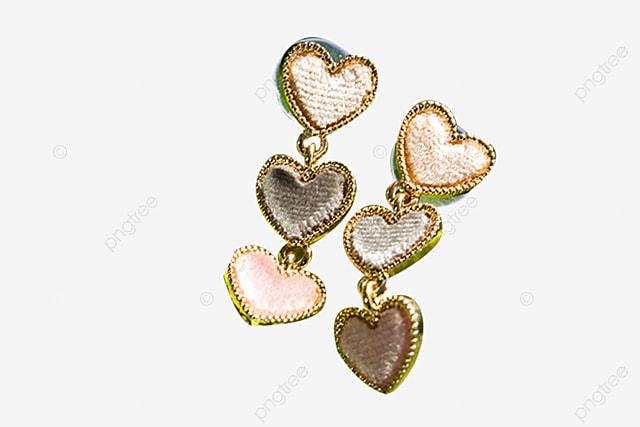 Pair Of Metal Heart Earrings, Heart Shaped Earrings, Heart