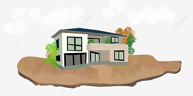 Building Villa Dark Color Simple Decoration Building Slope ...
