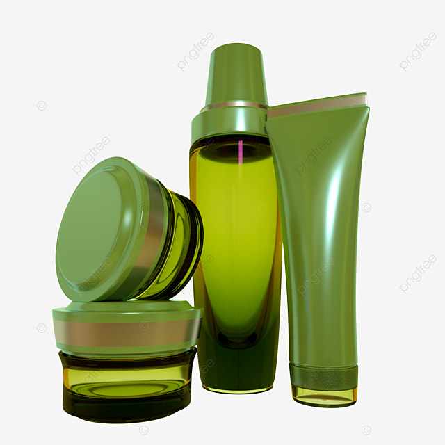 C4D Green Bottle Metal Skin Care Products, Cosmetics, Women