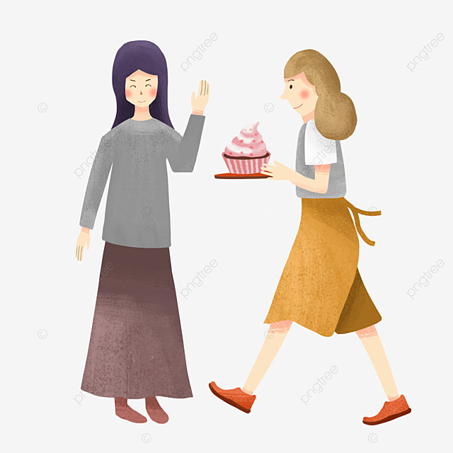 Cartoon Hand Drawn Friends Gather Together Happy Eating Cake