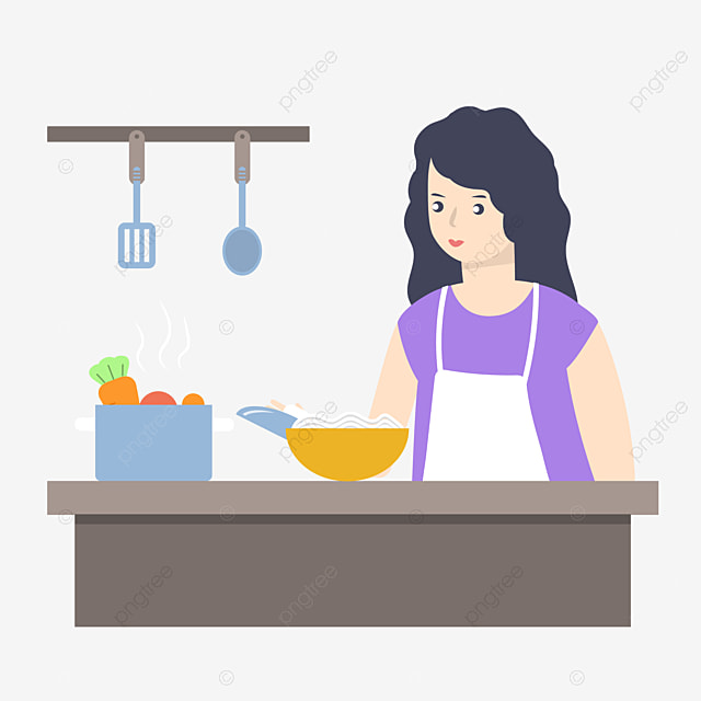 Cartoon Illustration Of Woman Cooking Cartoon Illustration Cooking Woman Kitchen Cooking Png And Vector With Transparent Background For Free Download