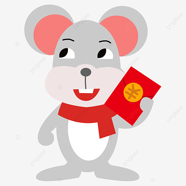 Cute Cartoon Mouse With Red Envelope Red Envelope Robbing