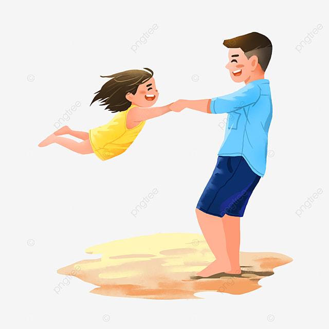 Gambar Ayah Dan Anak Perempuan Sedang Berseronok Di Pantai Selamat Hari Bapa Ayah Dan Anak Perempuan Luaran Png Dan Psd Untuk Muat Turun Percuma