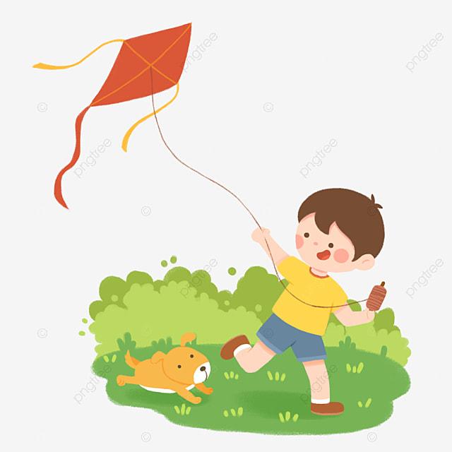 Flying Kite Character Boy Flying Kite In Spring, Spring ... (640 x 640 Pixel)