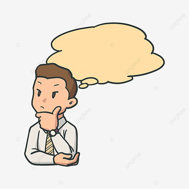 Thinking scientist. Free cartoon character learning
