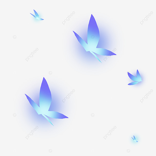 Glowing Blue Butterfly Cartoon Png Material, Breathing Blue