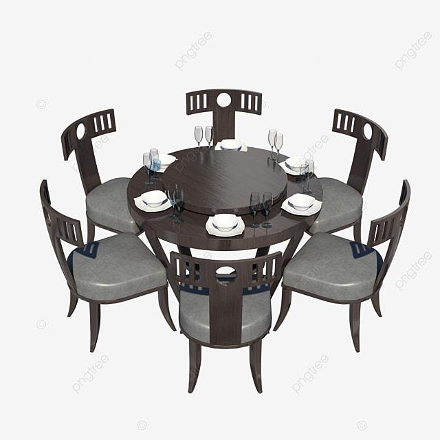 Charmant Restaurant Salle à Manger Table Ronde Chaises Gratuit PNG Et PSD