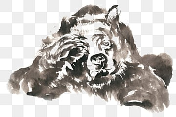 Blinking bear ink painting PNG free material, Ink, Chinese Painting, Hand-painted PNG and PSD illustration image