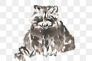Cute kitten bear ink painting PNG free material, Ink, Chinese Painting, Hand-painted PNG and PSD illustration image