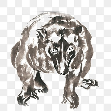 Ferocious bear ink painting PNG free material, Ink, Chinese Painting, Hand-painted PNG and PSD illustration image
