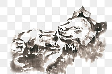 Relatives  bear  ink painting  PNG free material, Ink, Chinese Painting, Hand-painted PNG and PSD illustration image