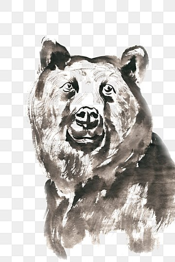 Robust bear ink painting PNG free material, Ink, Chinese Painting, Hand-painted PNG and PSD illustration image