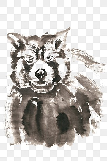 Stupid bear ink painting PNG free material, Ink, Chinese Painting, Hand-painted PNG and PSD illustration image