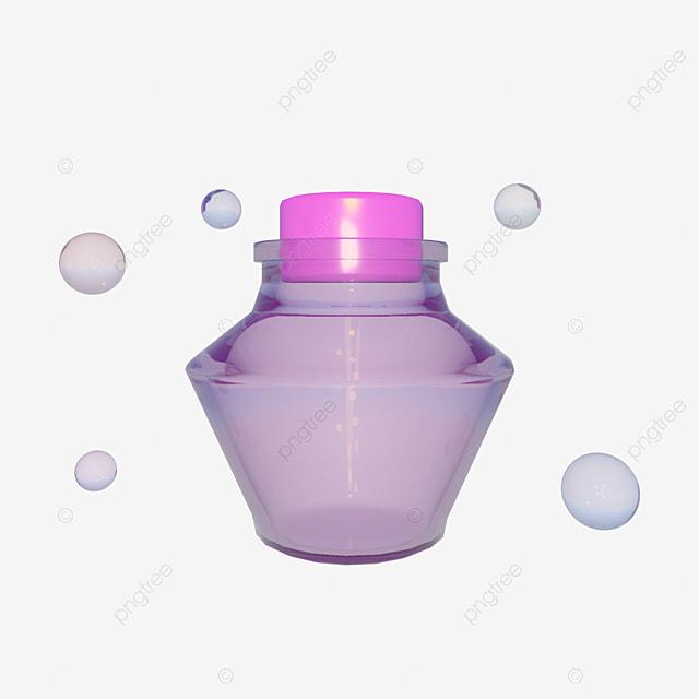 C4D Purple Perfume Glass Bottle, Purple Glass Bottle, Glass, Glass