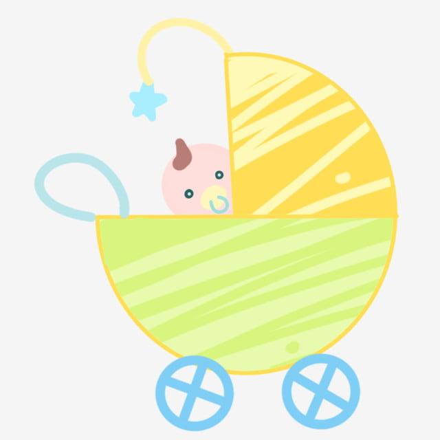 Joli Bébé Petit Chariot Voiture De Dessin Animé Illustration