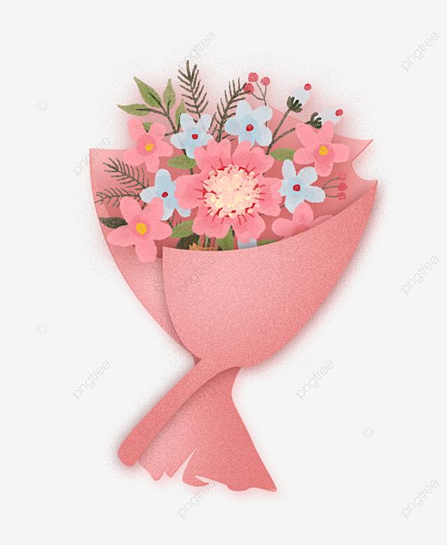 Tangan Ditarik Elemen Gesper Kartun Pink Buket Gratis Buket Bunga Merah Muda Png Transparan Gambar Clipart Dan File Psd Untuk Unduh Gratis