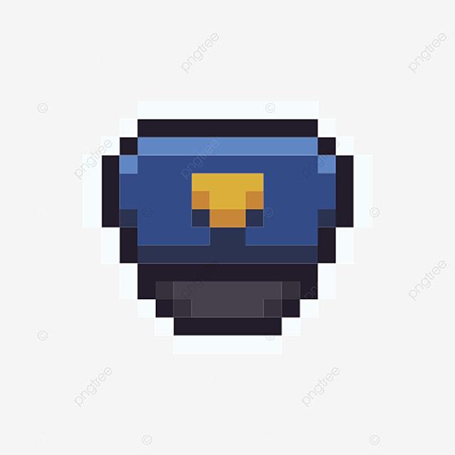 Chapeau Bleu Icône Pixel Dessin Animé Simple Style Arcade