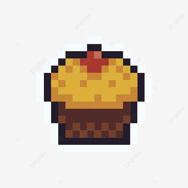 Petit Gâteau Icône De Pixel Dessin Animé Simple Style Arcade